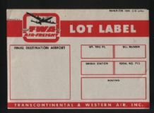 Airline label luggage  TWA #376